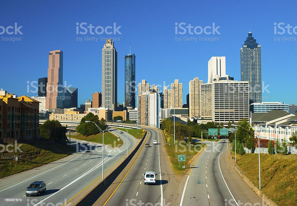 Atlanta skyline and highway stock photo