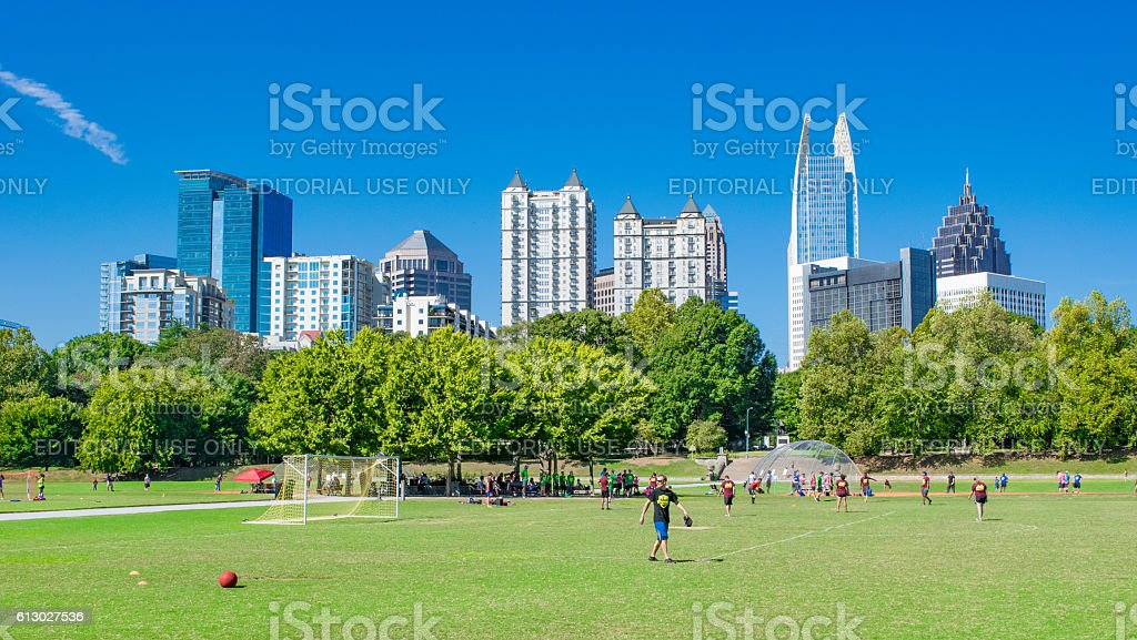 Atlanta Skyline and Piedmont Park stock photo