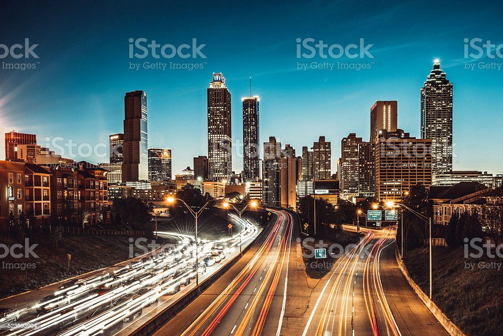 Atlanta Skyline at Dusk stock photo