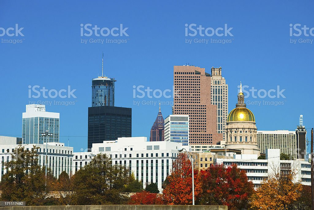 Atlanta skyline at Fall stock photo
