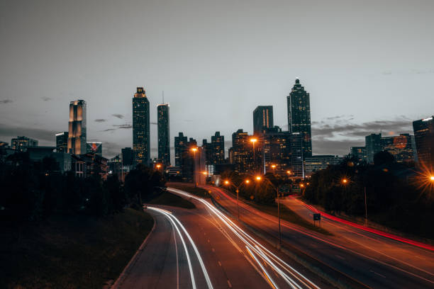 Atlanta Skyline at Sunset stock photo