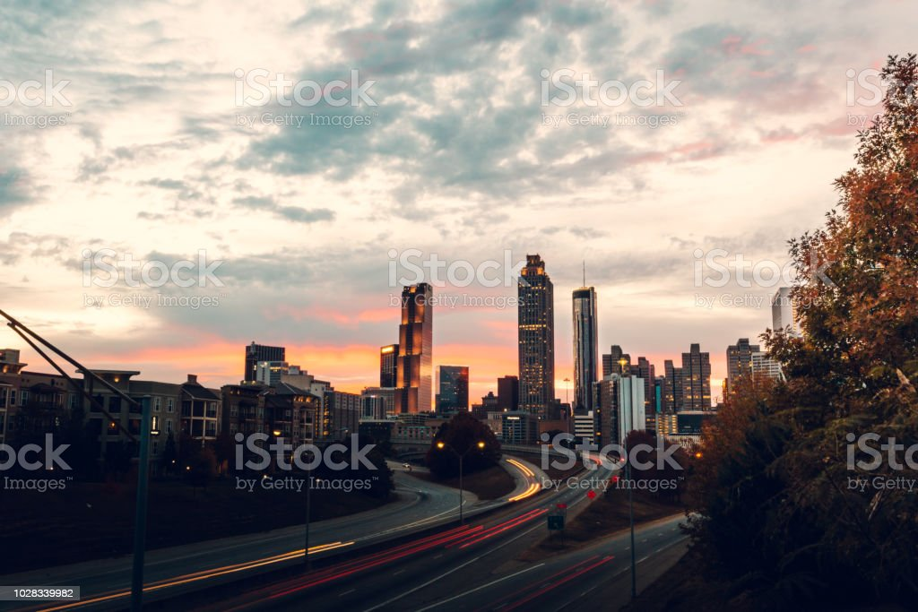 Atlanta skyline during twilight royalty-free stock photo