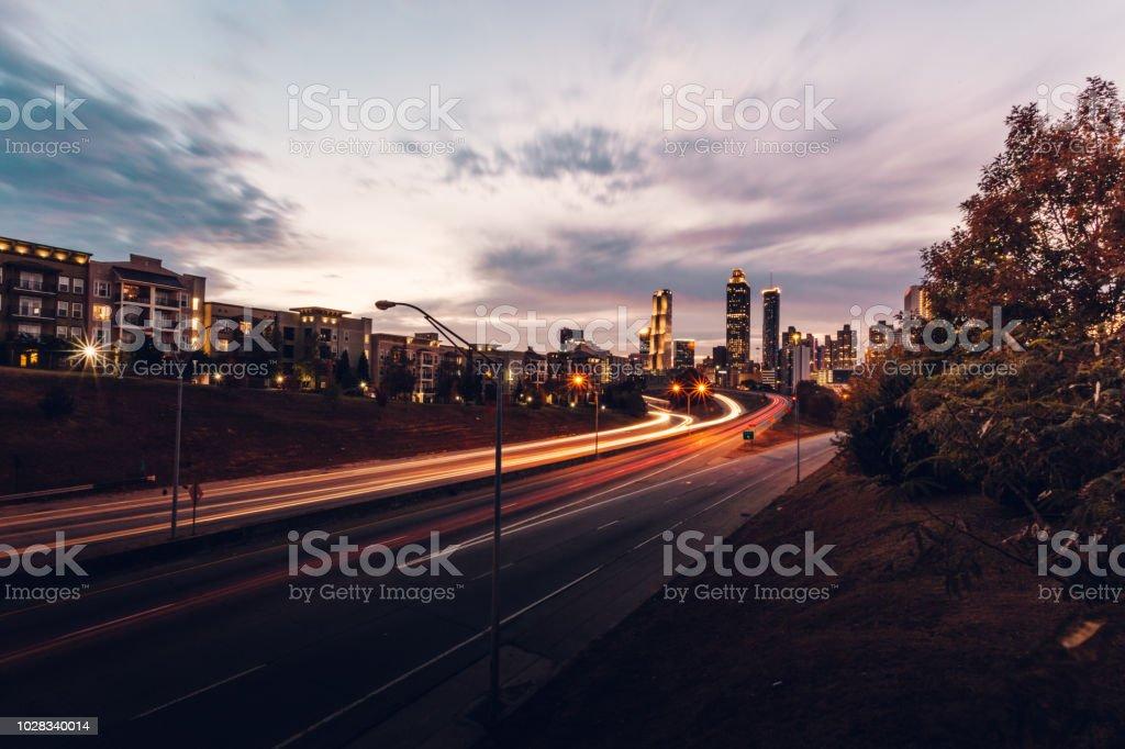 Atlanta skyline during twilight royalty-free stock photo