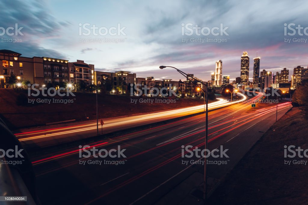 Atlanta skyline during twilight stock photo