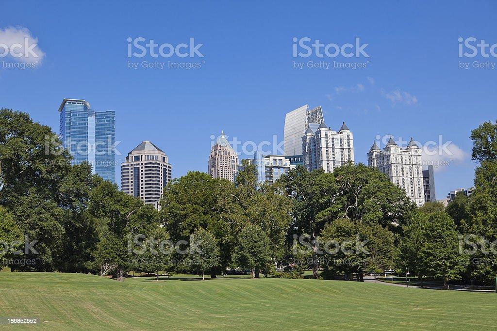 Atlanta skyline from the park stock photo
