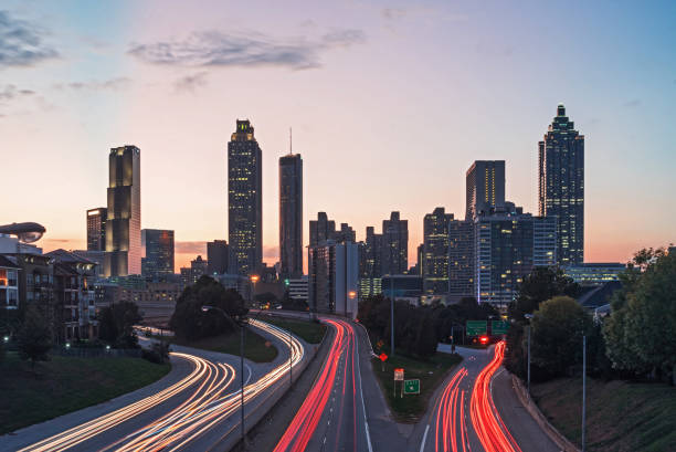 atlanta skyline - long exposure stock pictures, royalty-free photos & images