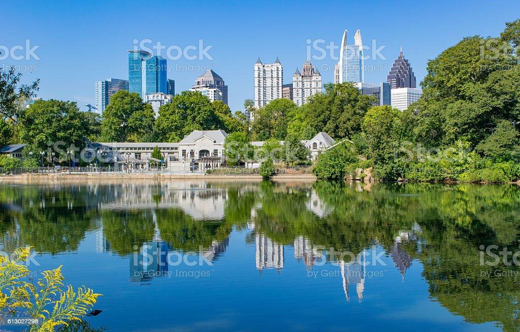 Atlanta Skyline Reflection in Piedmont Park stock photo
