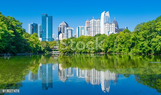 The skycrapers of Atlanta, Georgia reflected on a lake in Piedmont Park.