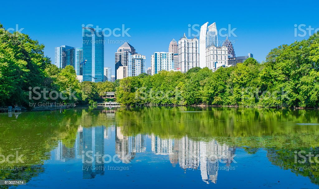 Atlanta Skyline Reflection in Piedmont Park stock photo