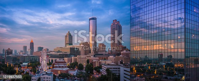 Skyline view of Downtown and Midtown Atlanta with ferris wheel