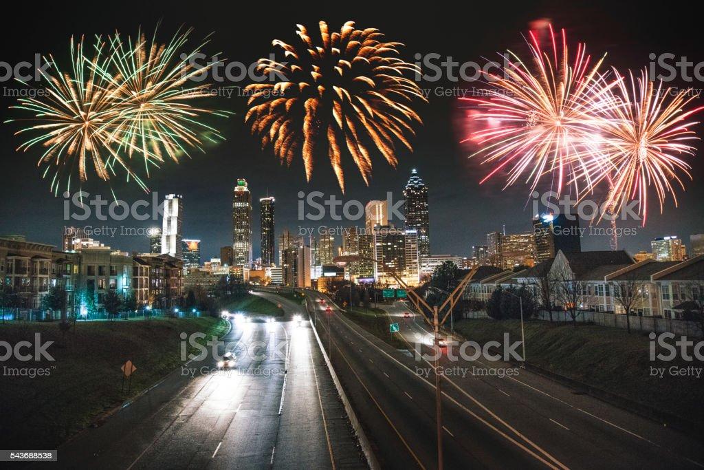 atlanta skyline with fireworks stock photo