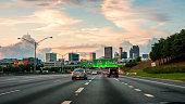 Vibrant cityscape of Atlanta with traffic