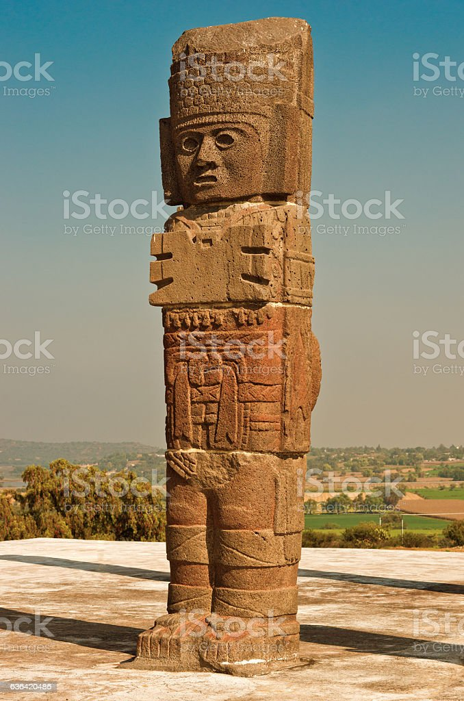 Atlantean figure in Tula. Mexico stock photo