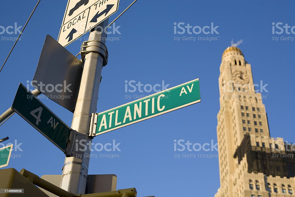 Atlantic Avenue Sign and Williamsburg Bank royalty-free stock photo