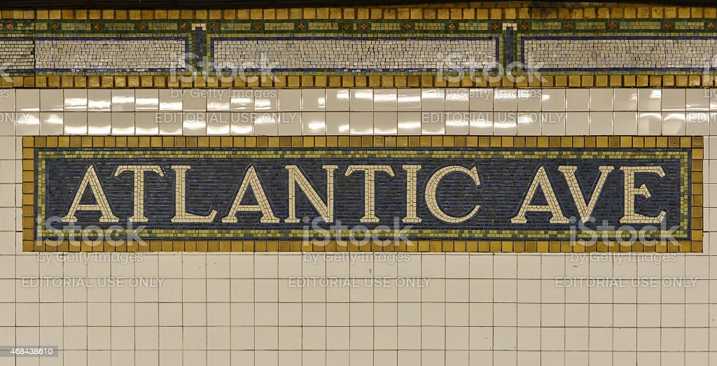Atlantic Avenue Subway Sign, Brooklyn, New York stock photo