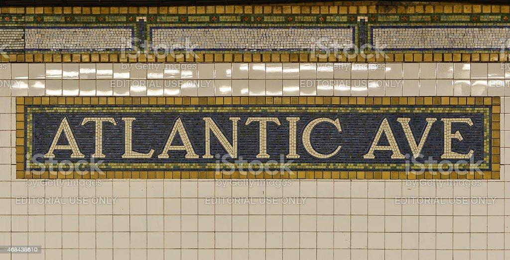 Atlantic Avenue Subway Sign, Brooklyn, New York stock photo