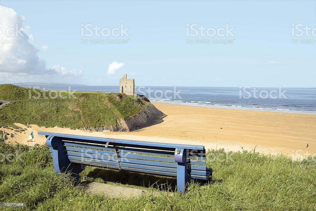 atlantic blue bench views stock photo