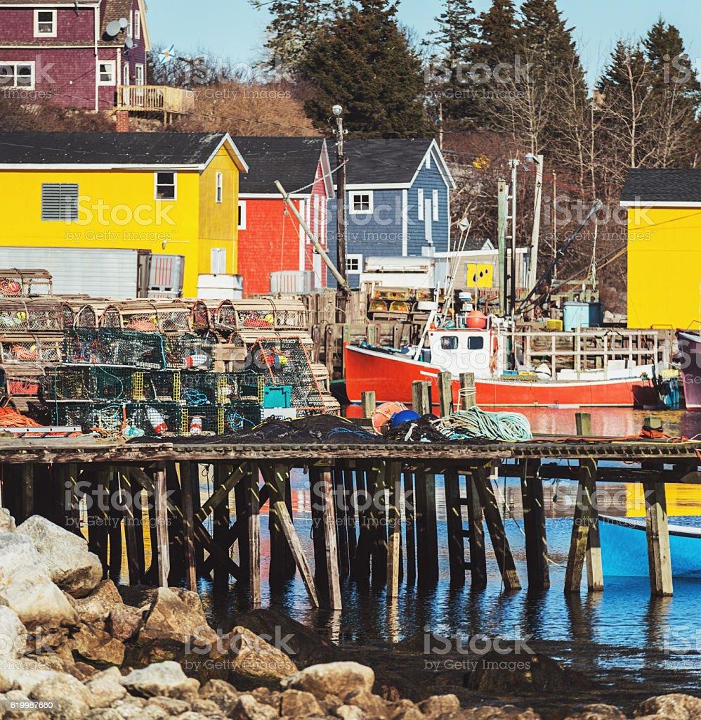 Atlantic Canadian Fishing Village stock photo