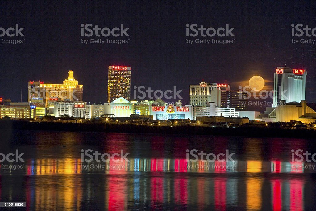 Atlantic City, New Jersey Skyline with a Honey Moon stock photo