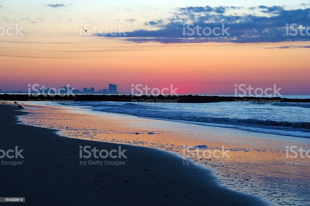 Atlantic City, NJ Skyline at Dawn stock photo