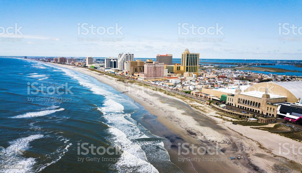 Atlantic city waterline aerial stock photo