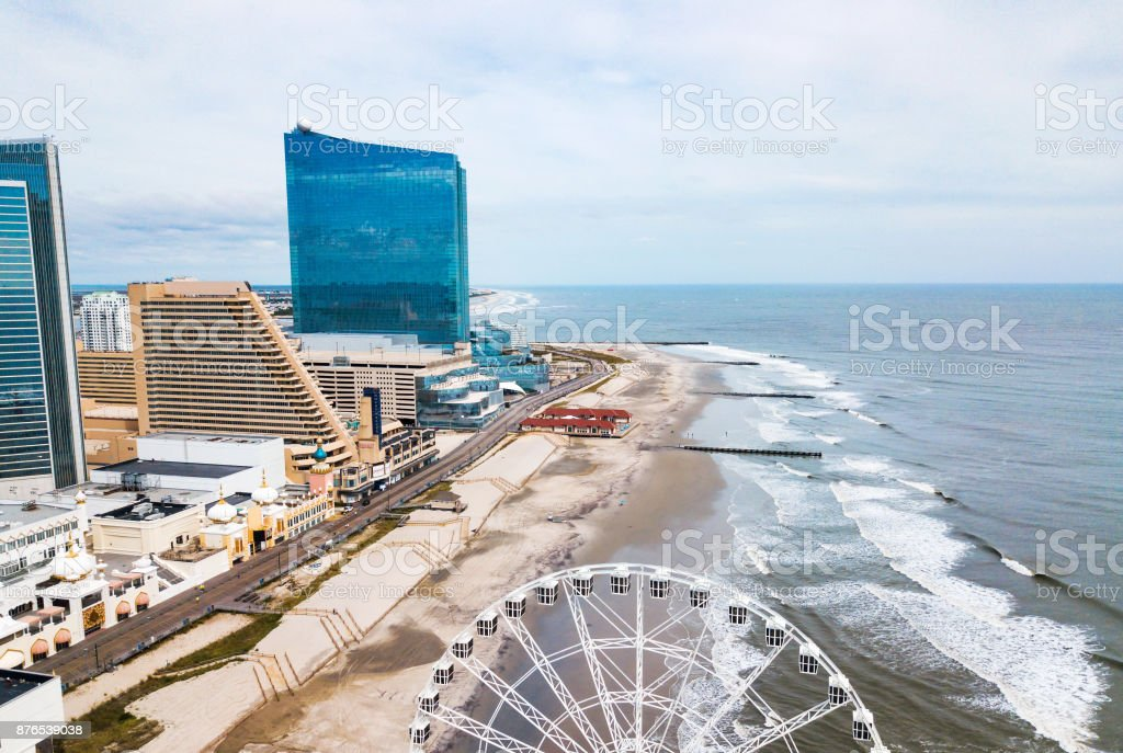 Atlantic city waterline aerial view stock photo