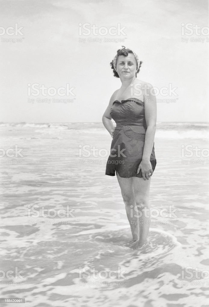 Atlantic City Woman At The Beach 1950 stock photo
