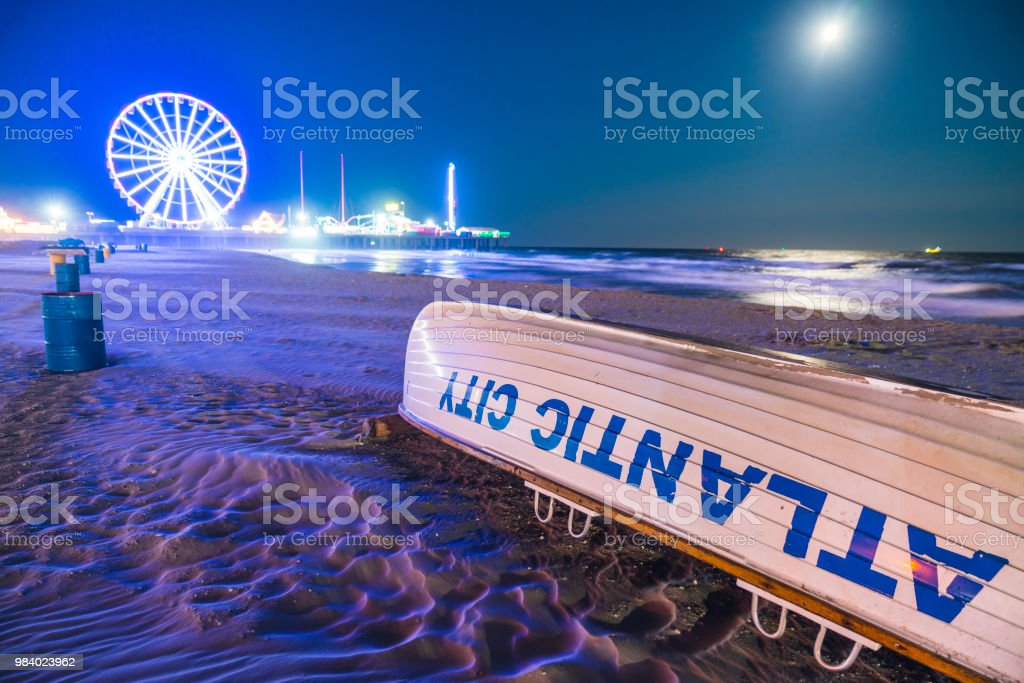 Atlantic city,new jersey,usa. 09-04-17: Atlantic City Boardwalk at night. stock photo