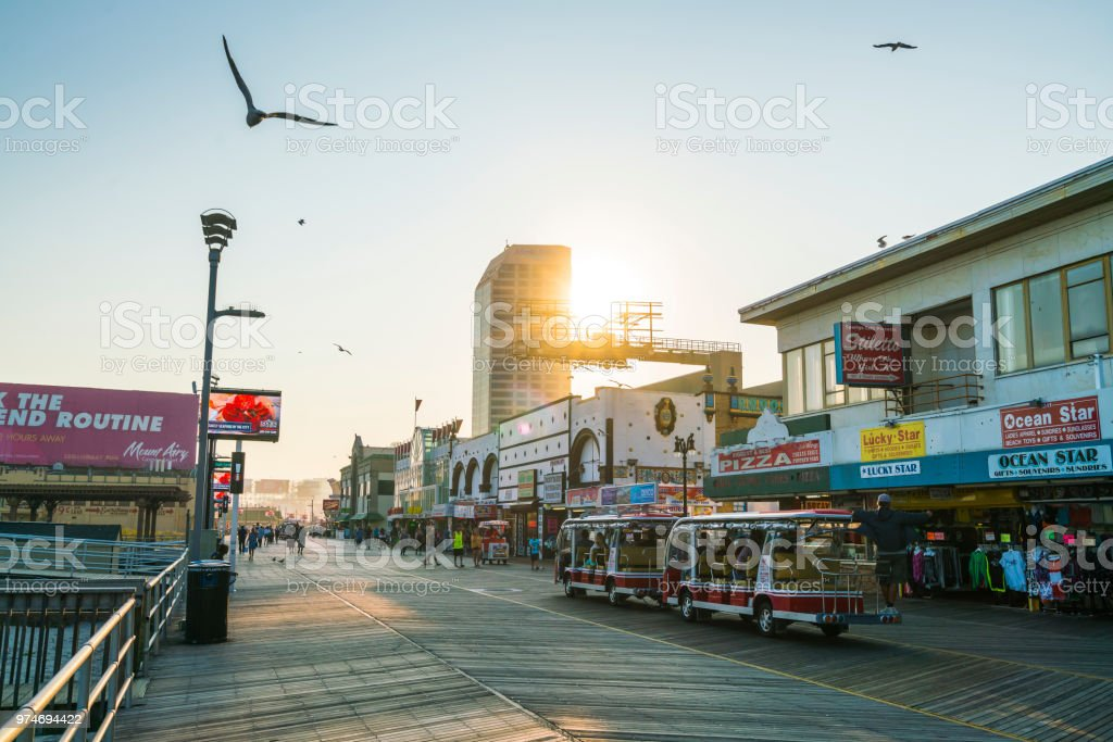 Atlantic city,new jersey,usa. 09-04-17: Atlantic City Boardwalk at sunset. stock photo