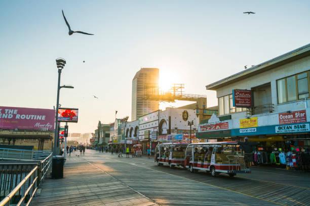 Atlantic city,new jersey,usa. 09-04-17: Atlantic City Boardwalk at sunset. stock photo