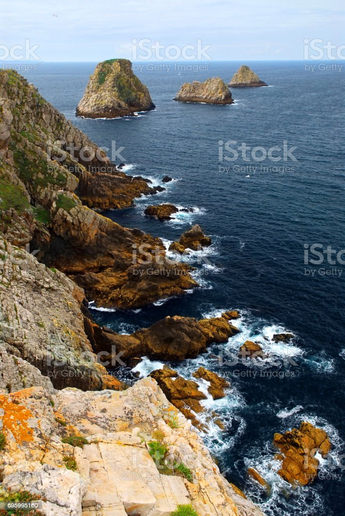 Atlantic coast in Brittany stock photo