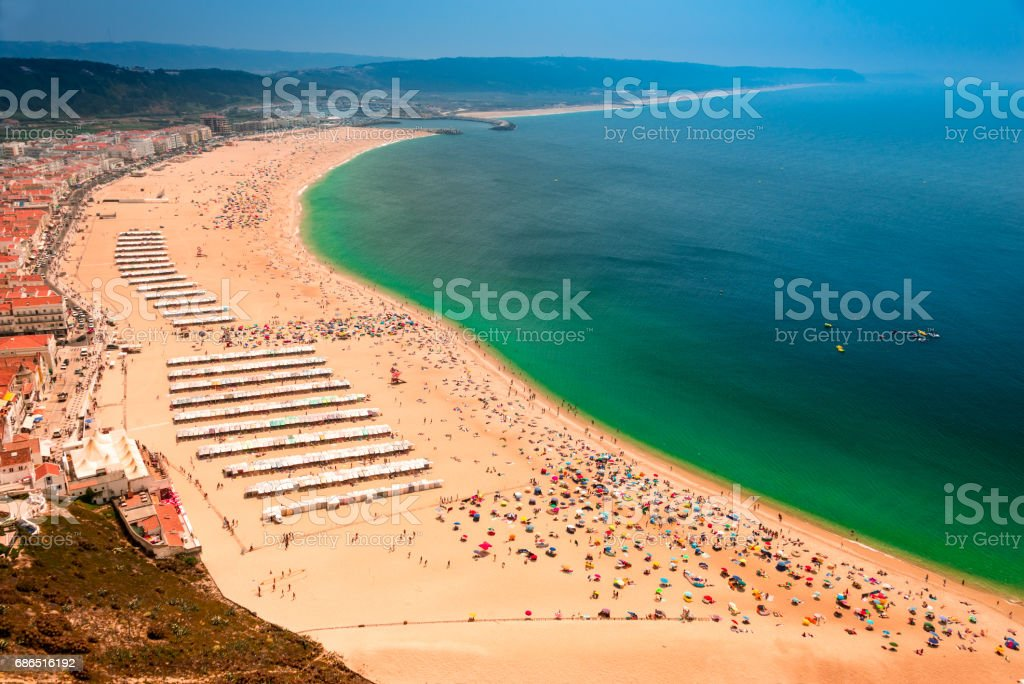 Atlantic Coast.Town and beach of Nazare foto stock royalty-free
