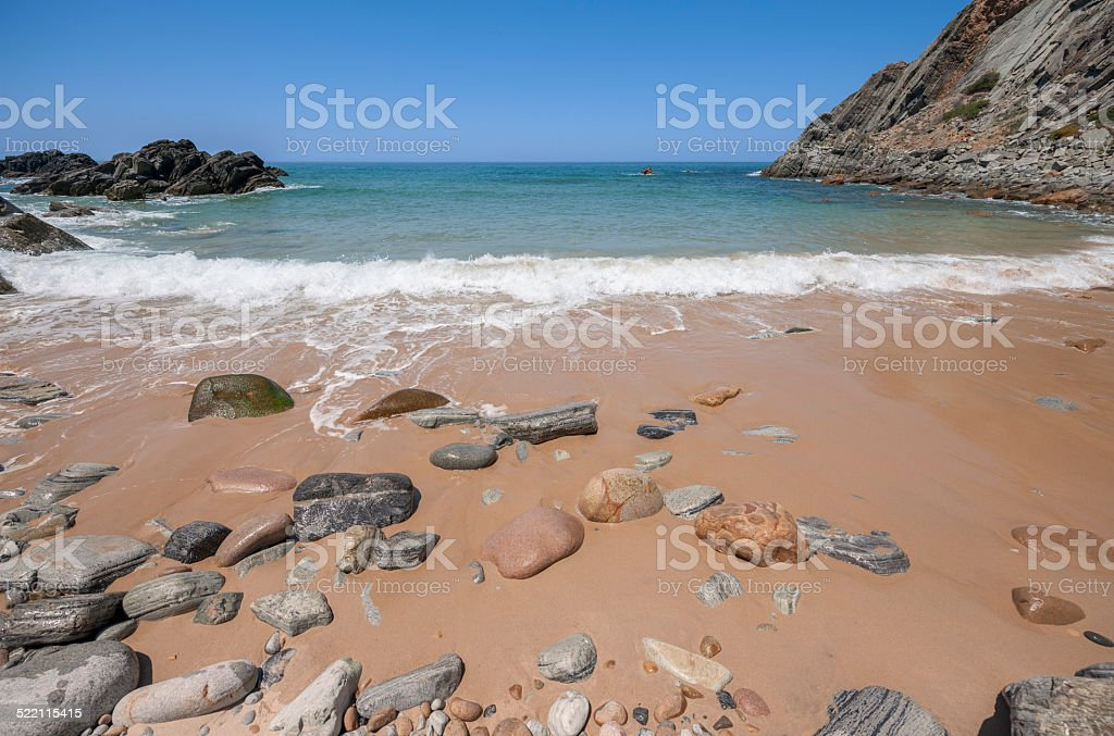 Atlantic Ocean and beach with sand and rocks royalty-free stock photo