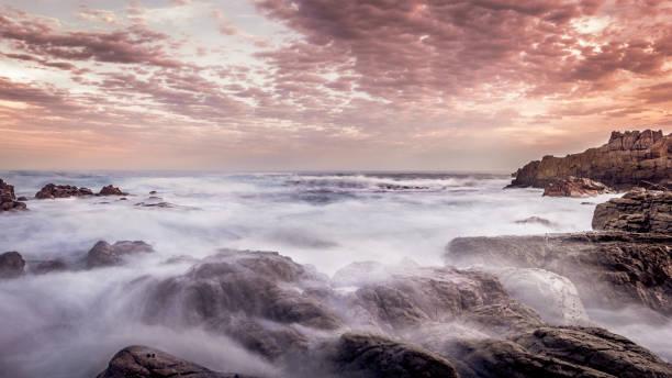 Atlantic Ocean at sunset stock photo