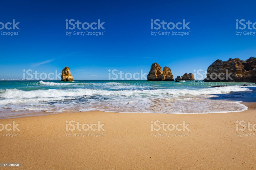 atlantic ocean beach, algarce coastline, portugal stock photo
