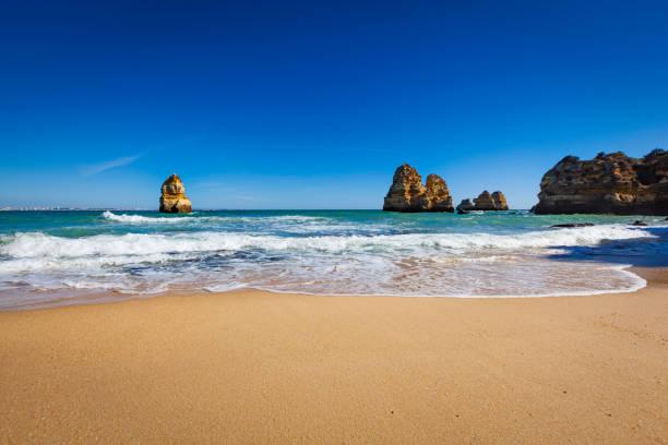 atlantic ocean beach, algarce coastline, portugal stock photo