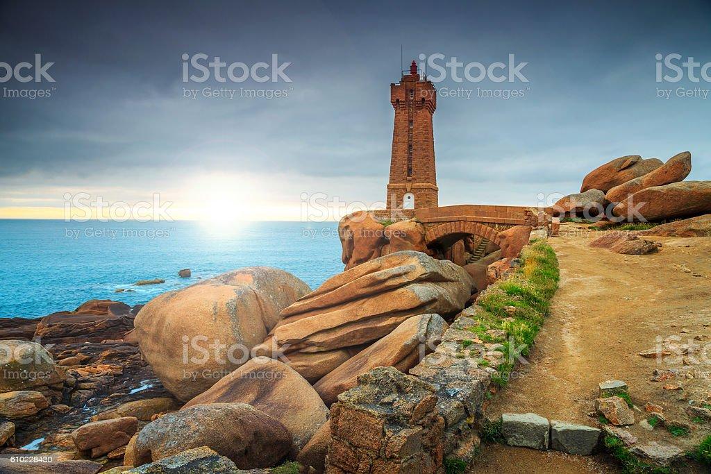 Atlantic ocean coast in Brittany region,Ploumanach,France,Europe – Foto