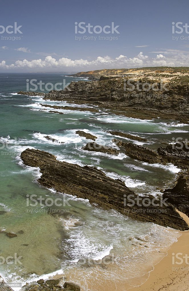 Atlantic ocean coast reef at Sardao cape cabo royalty-free stock photo