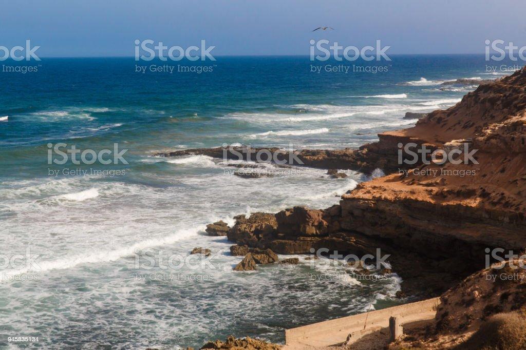 Atlantic ocean coastline in Morocco stock photo