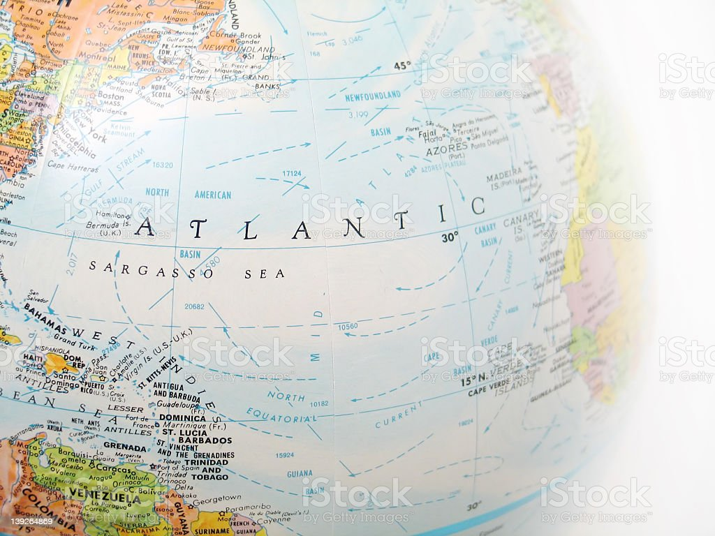 Atlantic Ocean in the center of an image of a globe stock photo