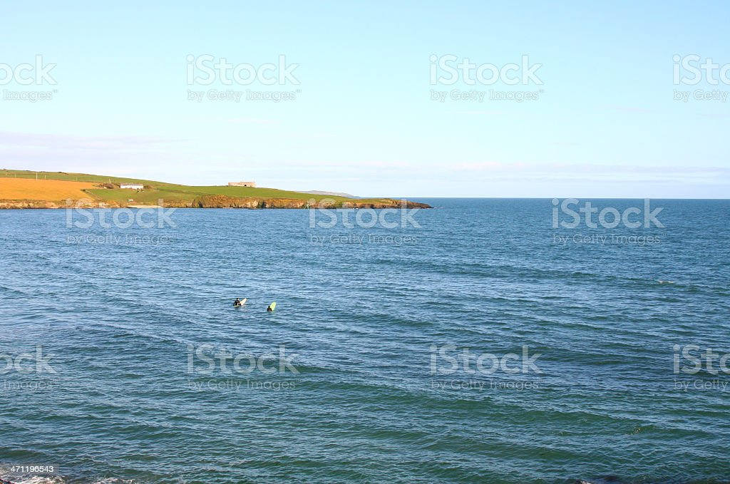 Atlantic Ocean, Irish Coast, two surfers stock photo