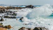 Atlantic waves hitting the shore near Porto in Portugal