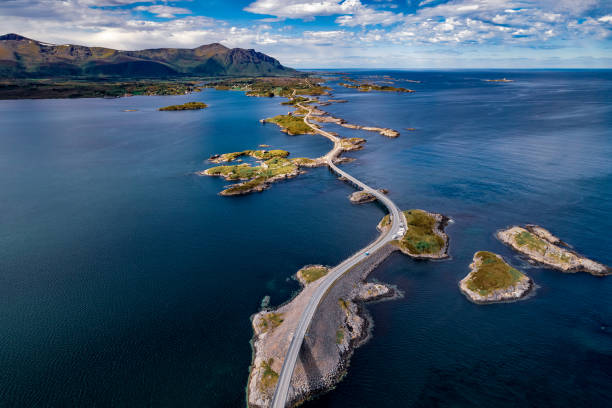 atlantic ocean road aerial photography. - atlantic ocean stock pictures, royalty-free photos & images