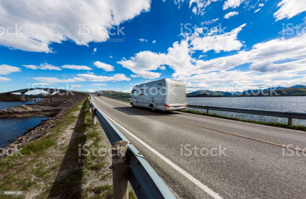 Atlantic Ocean Road Caravan car. stock photo