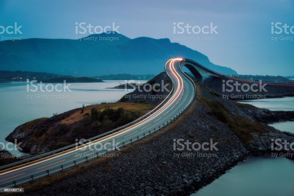Atlantic Ocean Road Norway stock photo