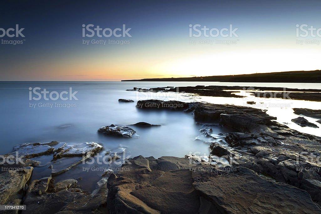 Atlantic ocean scenery at dusk royalty-free stock photo