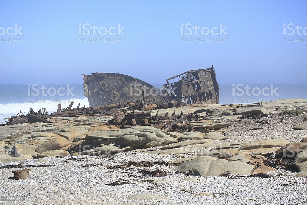 Atlantic Ocean shipwreck in the mist stock photo