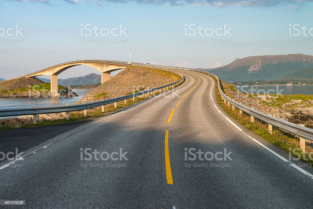 Atlantic Road (Atlanterhavsvegen) in Norway stock photo