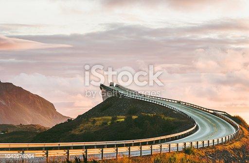 Atlantic road in Norway Storseisundet bridge over ocean way to clouds scandinavian travel landmarks