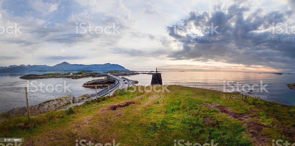 Atlantic Road Ocean Norway stock photo